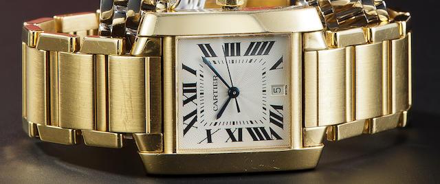 Cartier. A fine 18K gold automatic Tank wristwatch with center seconds, date and braceletTank Française, no. 1840 CC599069, 1990's