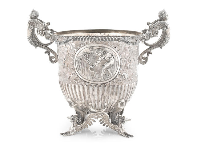 A Regency sterling silver  wine cooler Benjamin Smith II, London,  1814