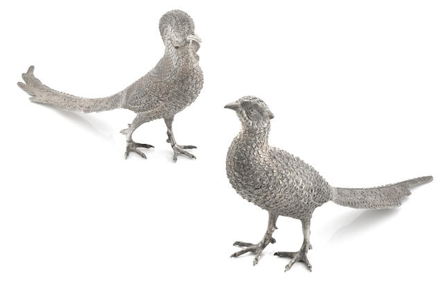A pair of Mexican sterling silver  figures of pheasants Sterki,  20th century