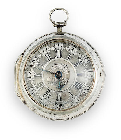 John Coates, Tetbury. A silver pair case verge watch and a cut steel chatelaineNo. 906, the inner case hallmarked 1752
