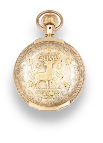 Elgin. A 14K multi colored gold box hinge hunter cased watchNo. 4129427, circa 1890
