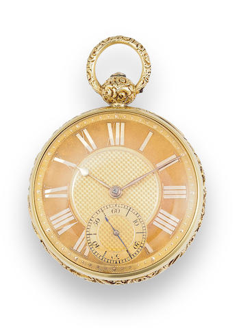 Robert Fletcher, Chester. An 18K gold open face lever watchNo. 5066, the case London, 1821
