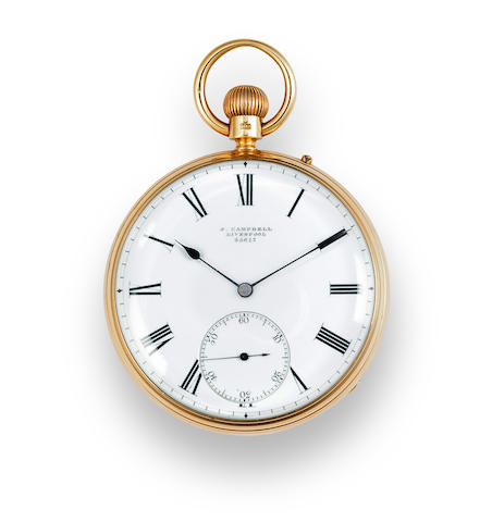 John Campbell, Liverpool. An 18K gold open face keyless lever watchNo. 25617, case hallmarked 1875