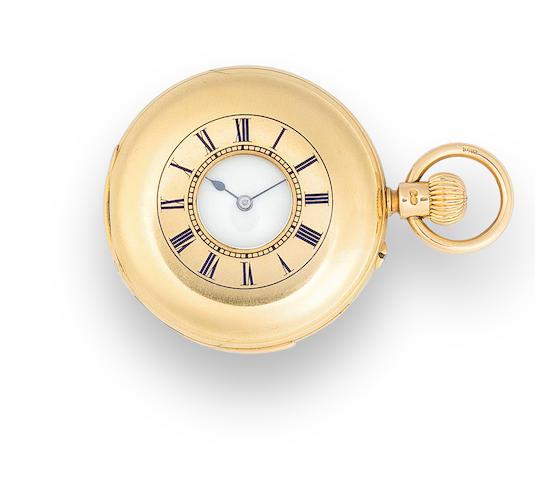 Fridlander, Coventry. A fine 18K gold half hunter cased half-quarter repeating keyless lever fob watchNo. 52729 the case hallmarked, London, 1889 cameo JW