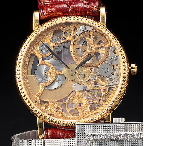 Universal Genève. An 18K gold skeletonized automatic wristwatchRef:151.11.662, No. 259