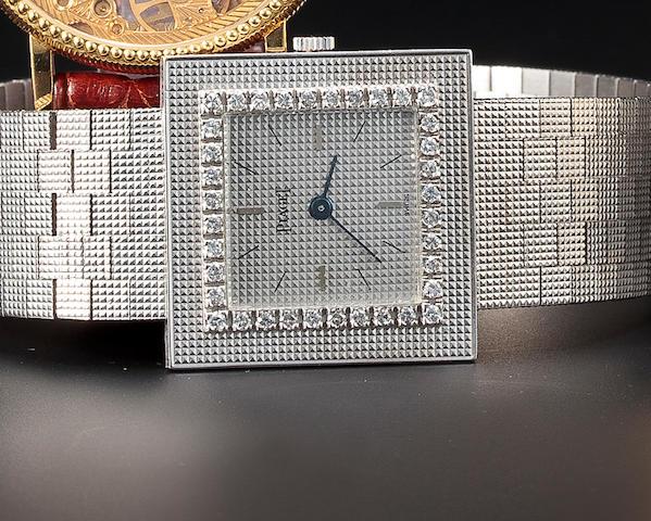 Piaget. An 18K white gold and diamond bracelet watchMovement no. 642597, case no. 99302, Ref:9201/14