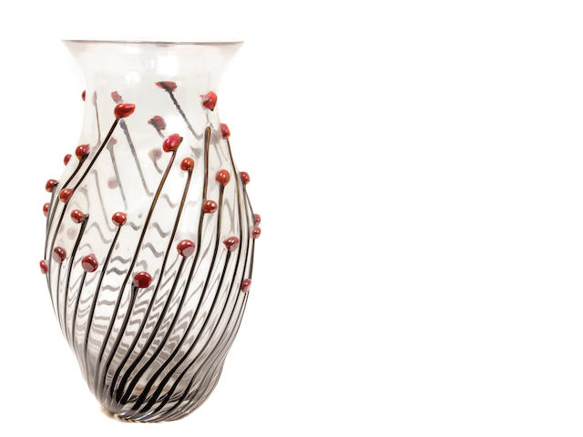 A Zanotti glass vase with applied berry decoration