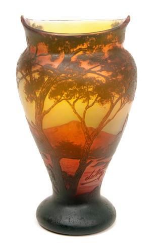 A DeVez cameo glass landscape vase