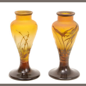 A pair of Galle cameo glass Pondscape vases circa 1900