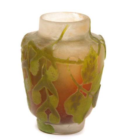 A Galle cameo glass Sycamore vase circa 1900