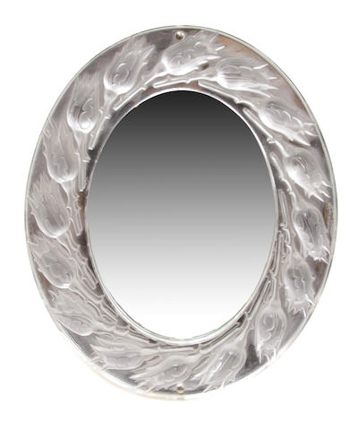 A Lalique molded glass Rosebud table mirror
