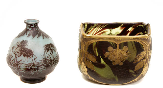 A Legras gilt-cameo glass ivy vase and a DeVez cameo glass Heron vase