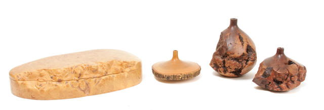 A Doug G. Museonell rocky mountain maple burlwood box and three J. Berland turned wood vessels