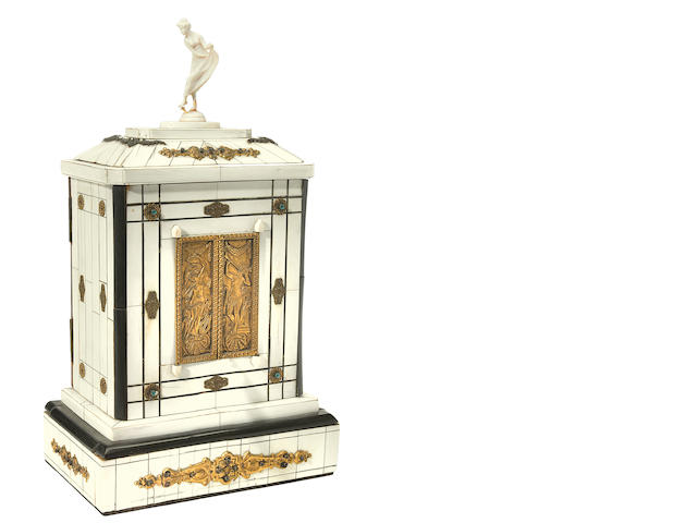 A Renaissance style gilt metal mounted ivory automaton music box
