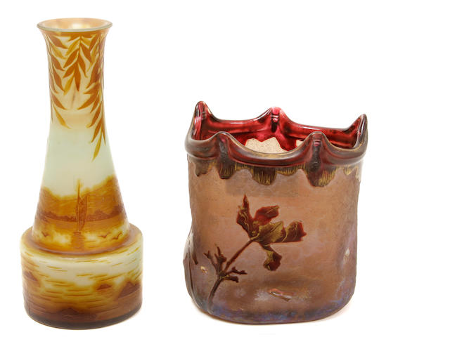 Three French art glass vases early 20th century