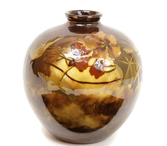 A Weller Aurelian glazed pottery Nasturtium vase
