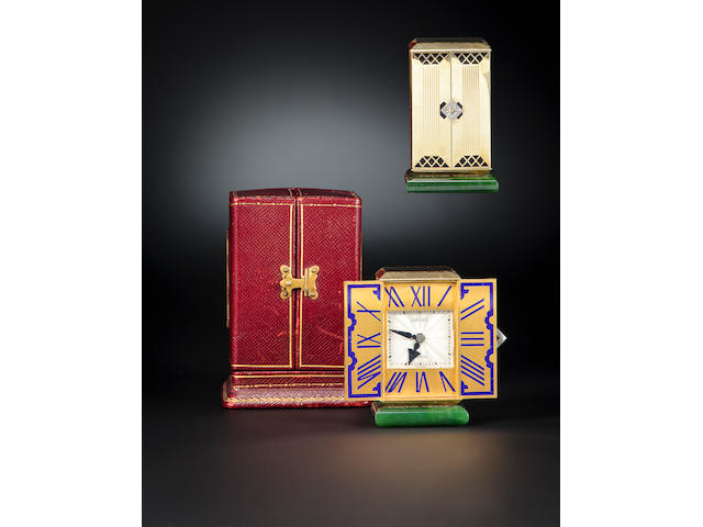 """Cartier, Paris. A very fine and rare Art Deco 18K enameled gold gem-set triptych desk clockMovement No. 28974, inscribed """"Cadran Breveté"""", case stamped with reference no. 1714, each door stamped 112, the case with French lozenge maker's mark, VR&Cie. with roman numeral XII, circa 1928"""