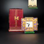 Cartier, Paris. A very fine and rare Art Deco 18K enameled gold gem-set triptych boudoir clock, circa 1928No. 28974, VR&Cie. ref: 1714