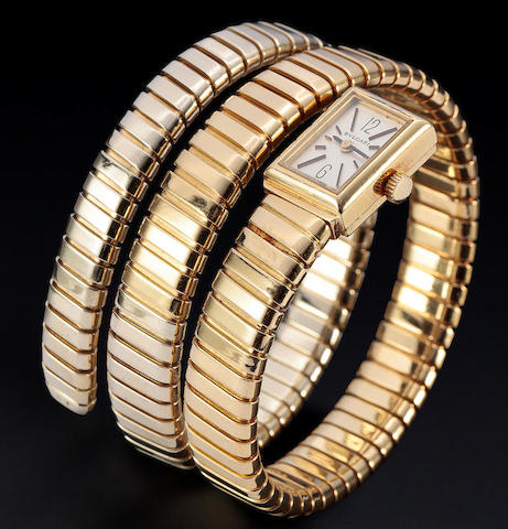 "Bulgari. A fine and rare 18K gold ""Tubogas"" bracelet watchCase no. 4067, signed Gèrald Genta / G.1374-4, bracelet with Monaco import mark"