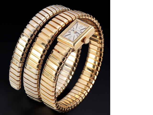 "Bulgari. A fine and rare 18K gold ""Tubogas"" bracelet watchCase no. 4067, signed Gèrald Genta / G.1374-4, bracelet with Monaco import mark"