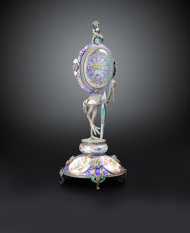 An enameled silver Renaissance style monstrance clockVienna, third quarter 19th century
