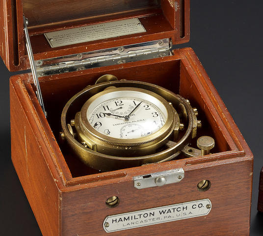 Hamilton. A gimbal mounted Model 22 lever chronometer with winding indicatorNo. 2F7993, 1940's