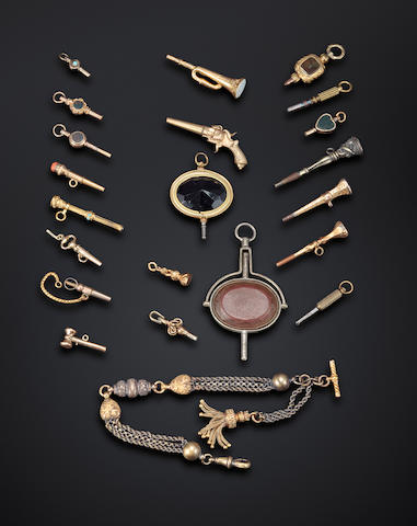 A collection of pocket watch keys19th century