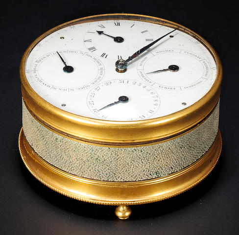 Josiah Emery, London. A very fine and possibly unique gilt brass and shagreen calendar timepieceUnnumbered, Last quarter 18th century