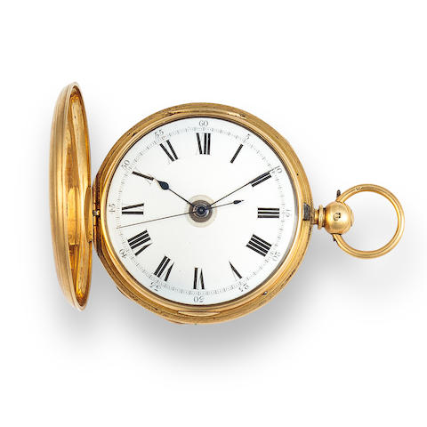 A. Bourcot. An 18K gold openface quarter repeating lever watch