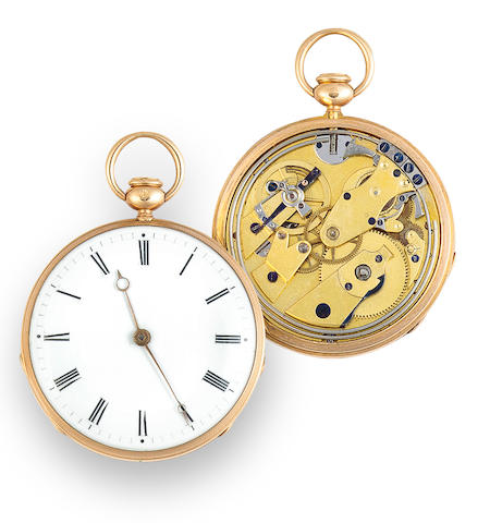 Lépine à Paris. A fine open face 18K gold quarter repeating cylinder watch with Breguet's shock resistant suspension and temperature compensationNo. 2725, circa 1820
