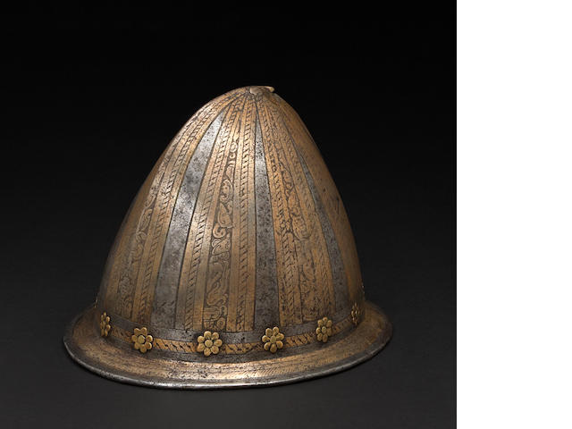 A North Italian etched cabasset or Spanish morion