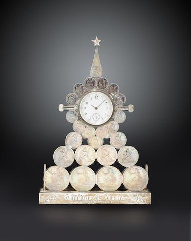 Silver dollar clock