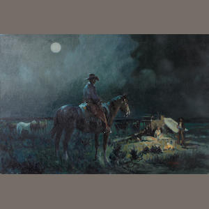 Joe Ferrara (American, 1932-2004) Cowboy's night, 1991 20 x 30in unframed