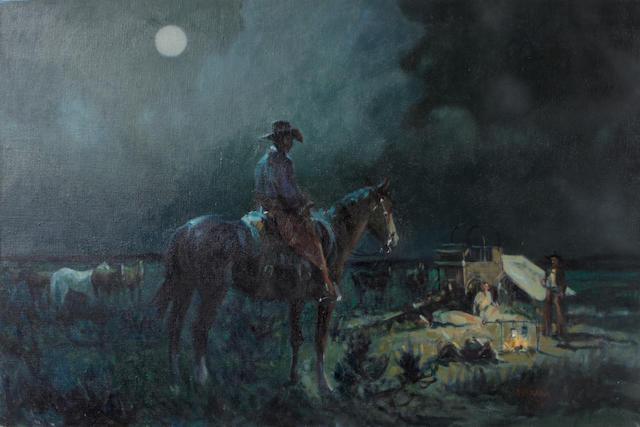 Joe Ferrara (American, 1932-2004) Cowboy's night, 1991 20 x 30in unframed