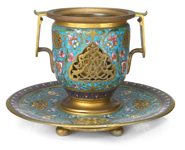 A French gilt bronze and champlevé vase and undertray  F. Barbedienne foundry, Paris late 19th century