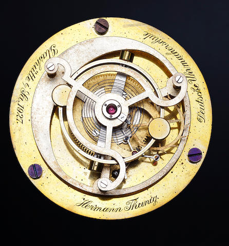 "Hermann Thunig and Alfred Helwig. A unique model of Helwig's ""Flying Tourbillon"" employing the pivoted detent escapement of Moritz Grossmann.Constructed at the Deutsche Uhrmacherschule, Glashütte, 1927"