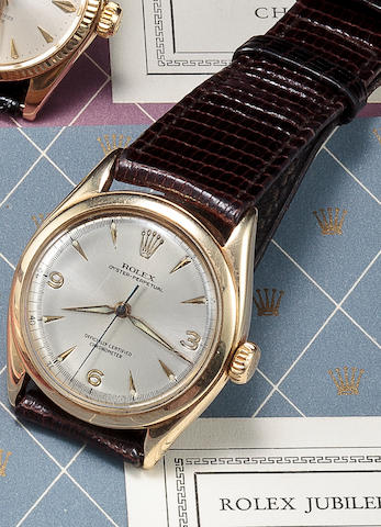 Rolex. A 14K gold automatic wristwatch with sweep secondsOyster Perpetual, Officially Certified Chronometer, Ref:6084, circa 1955