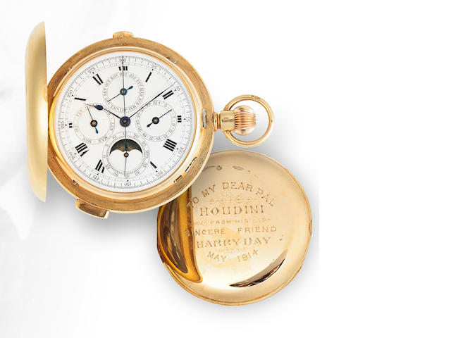 Repeating 18K yellow gold pocket watch