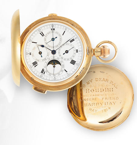 An 18K gold hunter cased minute repeating chronograph with calendar and moon phases presented to the magician HoudiniDated 1914
