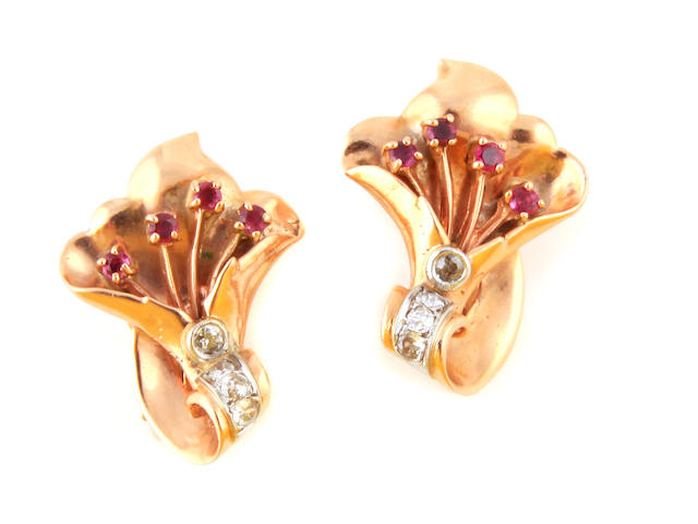 A pair of retro diamond, ruby, rose and white gold earrings