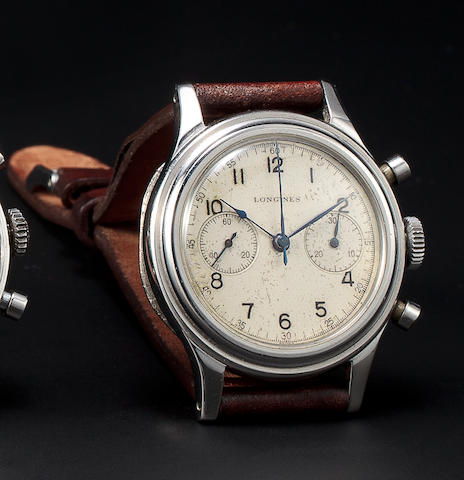 Longines. A rare stainless steel military style chronograph wristwatchRef: 30, Case no. 23432, Movement no. 7222748, 1940's
