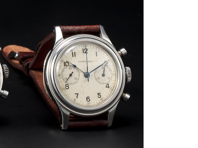 Longines. A fine 14K gold chronograph wristwatchMovement no. 7834255, 1940's
