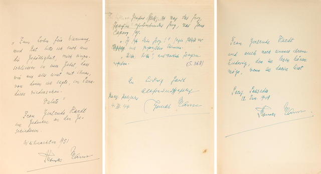 INSCRIBED BY THOMAS MANN.  MANN, THOMAS. 1875-1955.