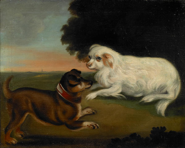 English School Two dogs in a landscape 20 3/4 x 25 3/4in
