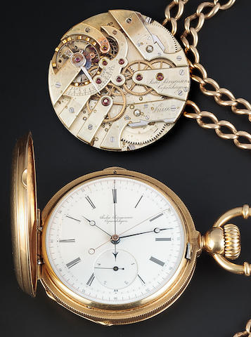 Jules Jurgensen, Copenhagen. An unusual fine and rare 18K gold hunter cased two train keyless lever watch with independent center seconds, jump fifth seconds and flyback chronograph and a gold chain with locketNo. 11866, 1880's