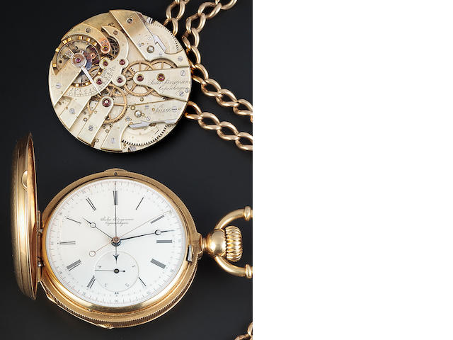 Jules Jurgensen 2-Train split chronograph and locket with chain