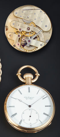 Jules Jurgensen. A fine 18K gold open face keyless pivoted detent pocket chronometer with original boxMovement no. 11693, 1880's