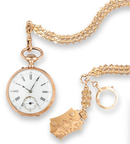 A fine 18K gold watch chain and fob and an 18K gold open face keyless cylinder watchLast quarter 19