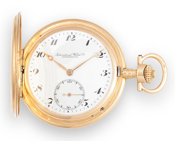 IWC. A 14K gold hunter cased dress watchCase no. 747147, Movement no. 629021, circa 1915