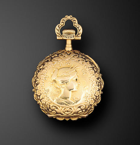 Patek Philippe. A fine 18K chased gold lapel watchCase no. 222003, Movement no. 107925, circa 1900